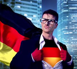 Superhero Businessman German Cityscape Concept