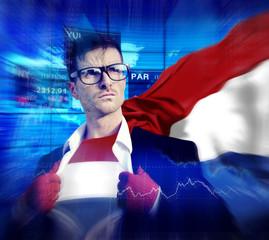 Businessman Superhero Country Netherlands Flag Culture Concept