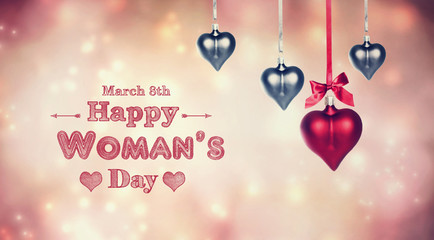 Happy Woman's Day message with heart ornaments