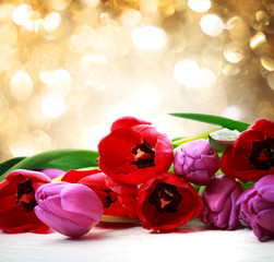 Red and purple tulips over abstract light background