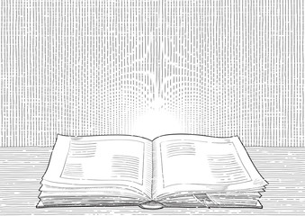 Vector background with old  open book at engraving style.