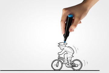 Drawn bicycle rider