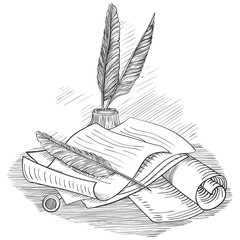 Vector of Paper with  inkwell and Pin feather