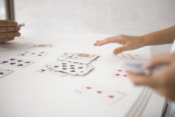 Children playing with card