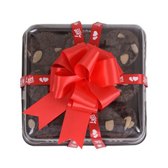 Gift box of sweet brownie.