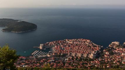 Sunrise over old stone city walls of Dubrovnik