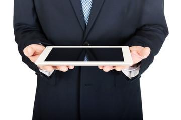Close up on male hands holding digital tablet