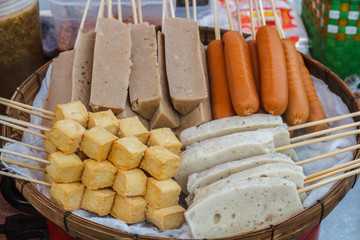 Steam meatballs and sausage on the market, Thailand.