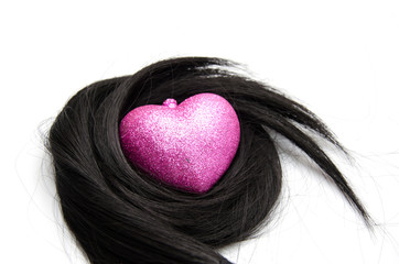 Hair with heart shape protection on whiteb ackground