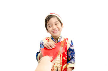 Little boy get present in dress for chinese new year