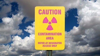Contamination Area Sign with Time Lapse Sky