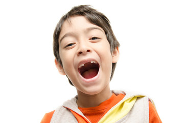 Little boy smiling open wide mouth show his toothless on white b