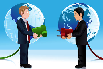 Business concept of connecting Eastern and Western world