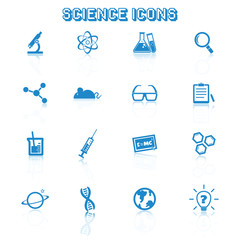 science icons with reflection