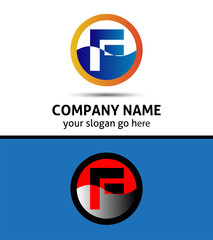 Letter F logo icon design template elements. Vector round sign