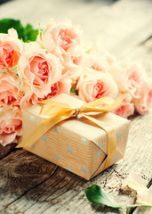 Bouquet of Tender Pink Roses with Present Box