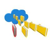cloud foldersyellow exception one, isolated poster