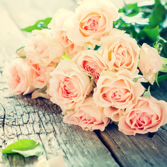 Bouquet of Tender Pink Roses, toned instagram effect