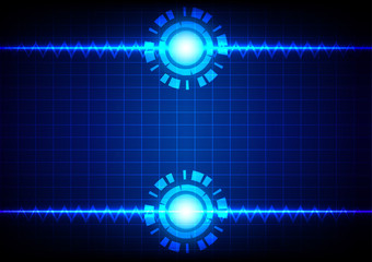 Abstract line zigzag and circle on  blue light background