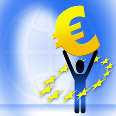 figure holding euro sign
