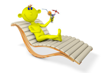 Yellow man on a chaise lounge