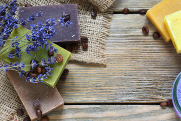 Soap different varieties of natural on napkin with a lavender