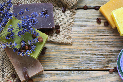 Soap different varieties of natural on napkin with a lavender - 76288995