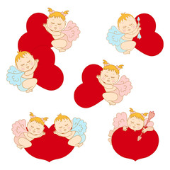 Set cupids with hearts