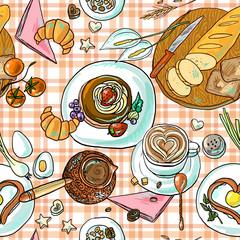 beautiful hand-drawn simpless pattern breakfast