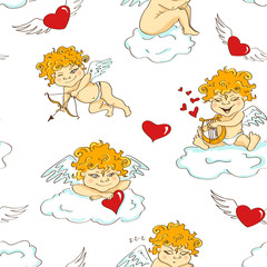 Seamless pattern with funny cartoon cupids
