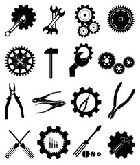 tools settings gear icons set