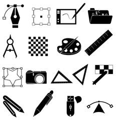 Graphic designer icons set