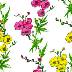 vector seamless pattern with branches of flowers