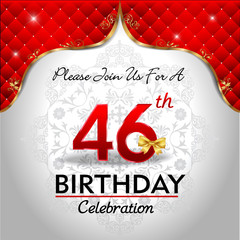 celebrating 46 years birthday, Golden red royal background