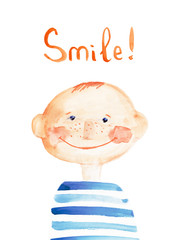 boy smile. watercolor illustration