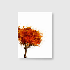 Brochure Cover or flyer with autumn tree design