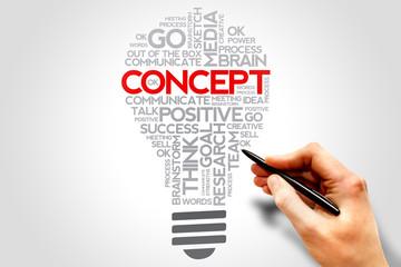 CONCEPT lightbulb words cloud, business concept
