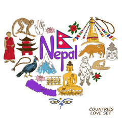 Nepal symbols in heart shape concept