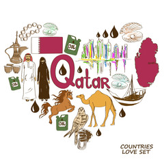 Qatar symbols in heart shape concept