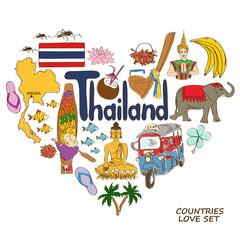 Thailand symbols in heart shape concept