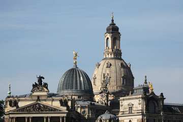 Frauenkirche and the Academy of Fine Arts in Dresden, Saxony, Ge