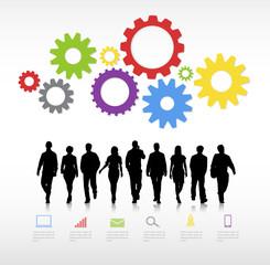 Walking Forward Determination Team Teamwork Concept