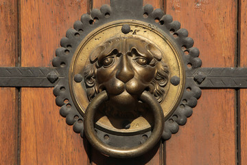 Knocker at a door of St Thomas Church (Thomaskirche) in Leipzig.