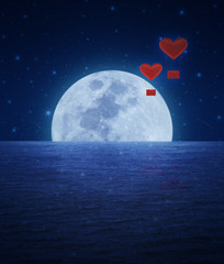 Red fabric heart air balloon on fantasy sky and moon