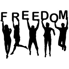 People silhouettes jumping and holding the letters with word Fre