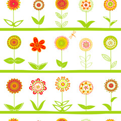 Rows of flowers seamless pattern