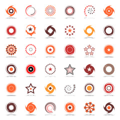 Stars and rotation. Design elements in warm colors.