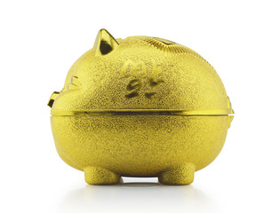 Gold piggy bank side view with clipping path