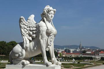 Rococo Sphinx in the Belvedere gardens in Vienna, Austria.