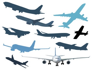 ten airplanes collection isolated on white